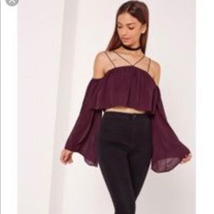 6039477367 Missguided dark purple Bardot top